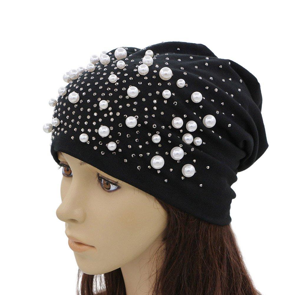 GZHILOVINGL Sparkling Pearls Rhinestones Spring Hat,Slouchy Beanie Cap For Women