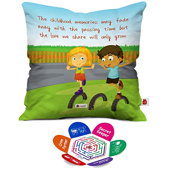 Indigifts Printed Micro Satin and Fibre Cushion Cover with Filler (Multicolour) - 12X12 Inches Cushion Covers at amazon