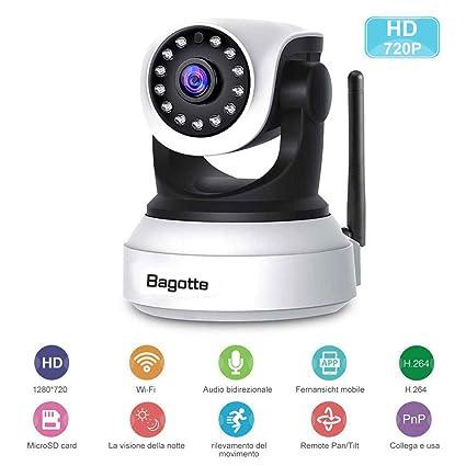 Cámara de vigilancia Bagotte de 720p, con wifi, P2P, movimiento horizontal y vertical