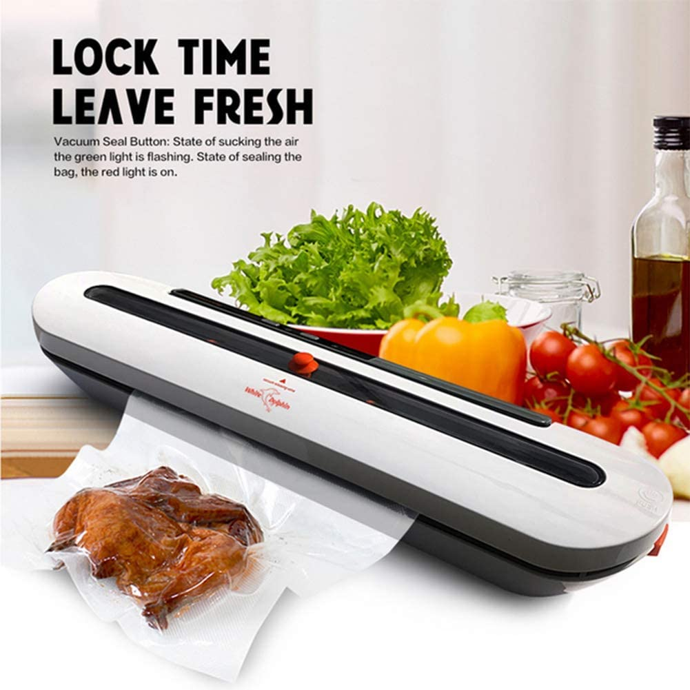Vacuum Sealer One-Button Automatic Food Sealer Machine Can Be Used for Food Preservation and Sous Vide Suitable for Home Or Camping Use (Provide 10Pcs BPA-Free Vacuum Seal Bags) 80W 220V