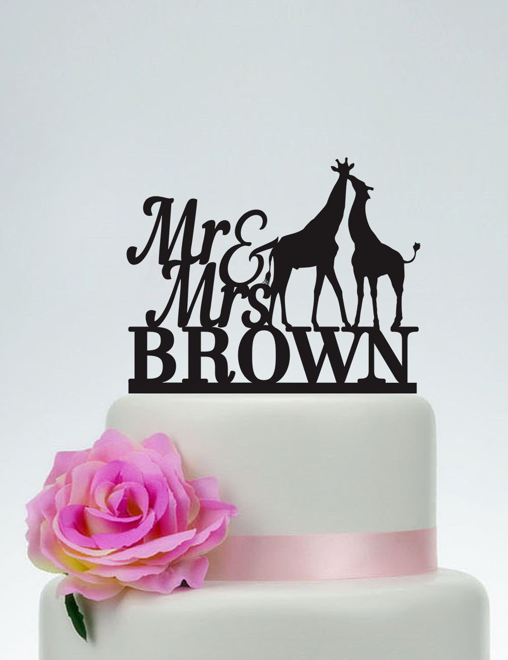 Custom Giraffe Mr And Mrs With Surname Animal Personalized Cake Topper Wedding Anniversary Party Favors Wedding Gifts For Bride And Groom by Dikoum