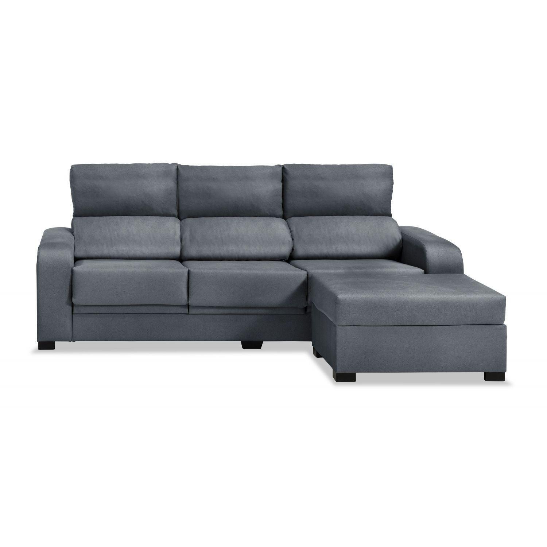 Mueble Sofa con Chaise Longue 3 plazas color gris marengo cheslong chaiselongue ref-55 SUBIDA A DOMICILIO