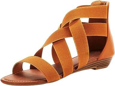 Amazon Com Sandalias De Moda Para Mujer Estilo Casual Con Correa Elástica Y Correa De Tobillo Estilo Romano Clothing