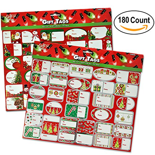 180 Self Adhesive Christmas Gift Tags Stickers Labels for Wrapping Holiday Present in 60 Elegant Designs by Gift (Reindeer Gift Tags)