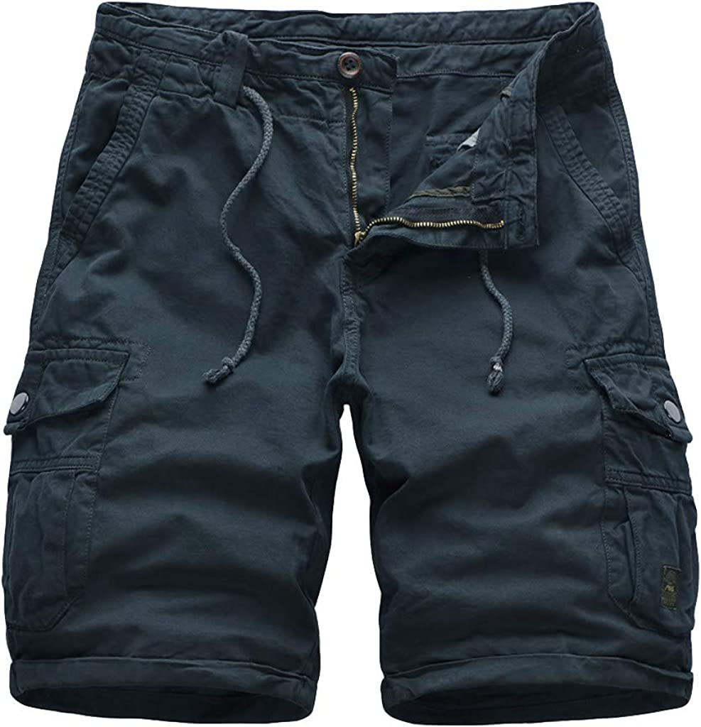 DIOMOR Classic Plus Size Relaxed Fit Big Pockets Drawstring Cargo Shorts for Men Casual Outdoor Comfy Hiking Walk Pants: Clothing