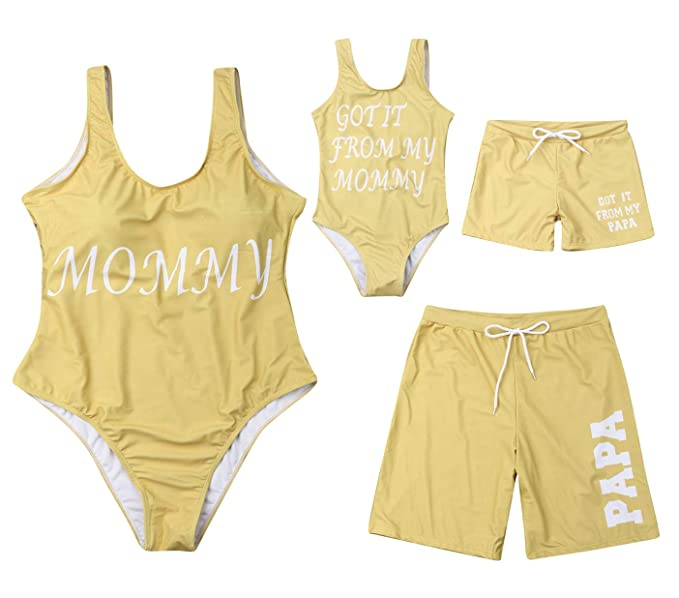 Amazon.com: Traje de baño amarillo con estampado de letras ...
