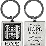 Hope in the Lord Isaiah 40:31 Silver Finish Christian Key Ring Keychain