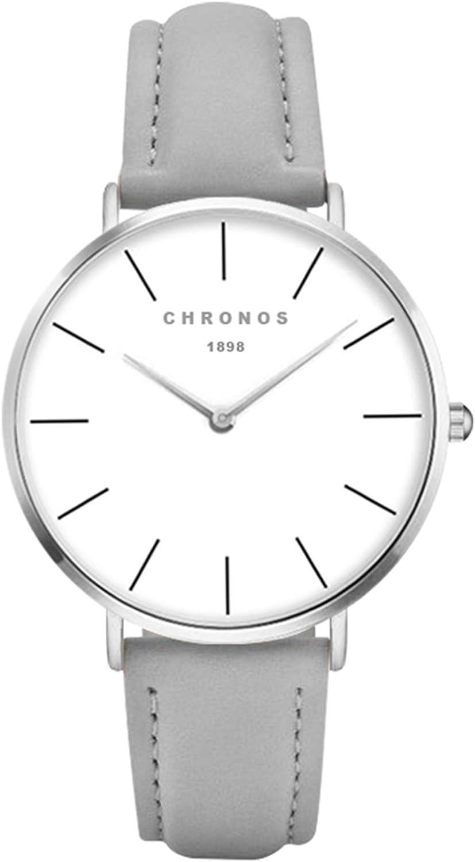 Relojes Unisex Clásico Delgada Analogico Relojes Pulsera Mujer Hombre Cuero Acero Inoxidable Casual
