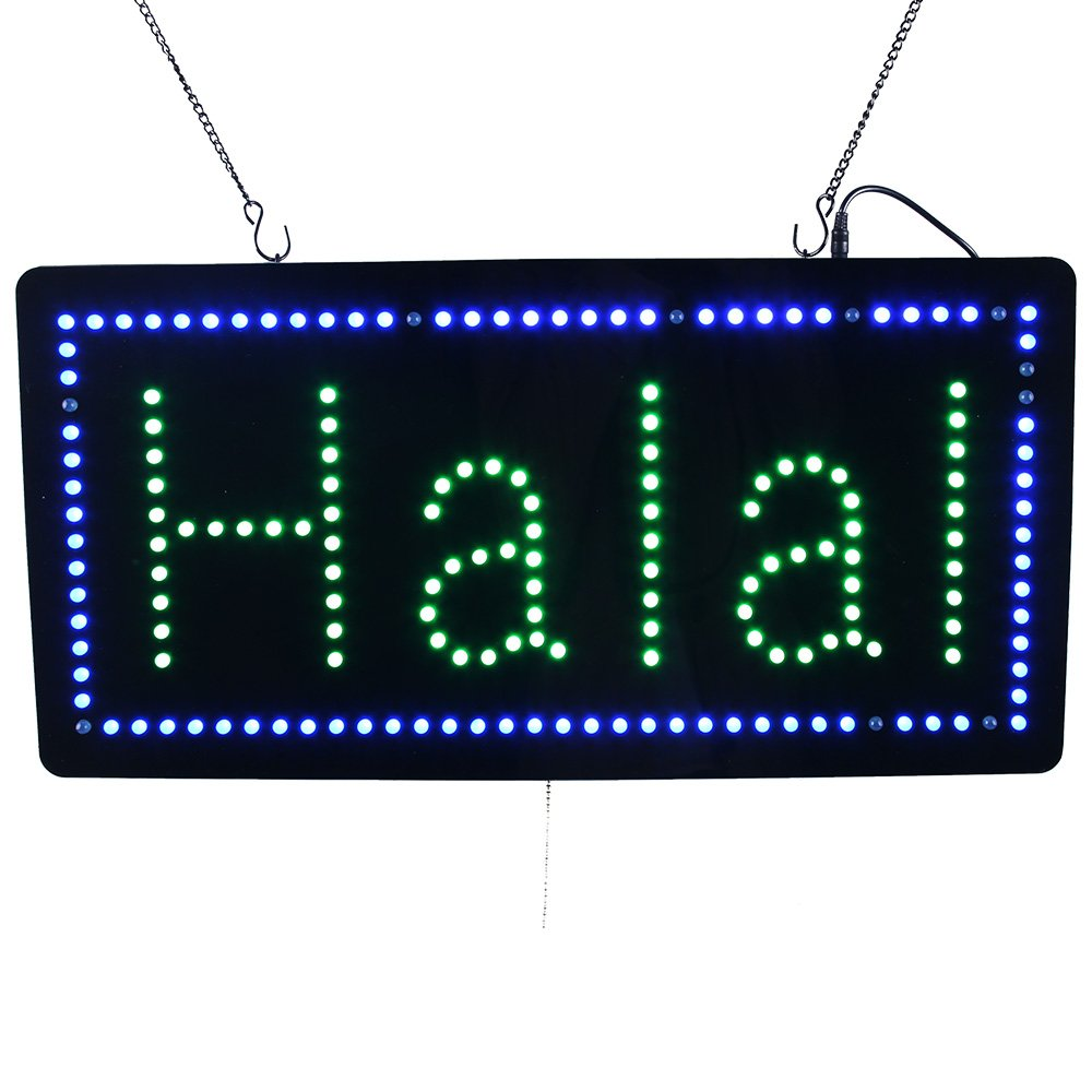 LED Halal Sign, Super Bright LED Open Sign Electronic Billboard Bright Advertising Board Flashing Window Display Sign, Store Sign, Business Sign, 24 x 12 inches