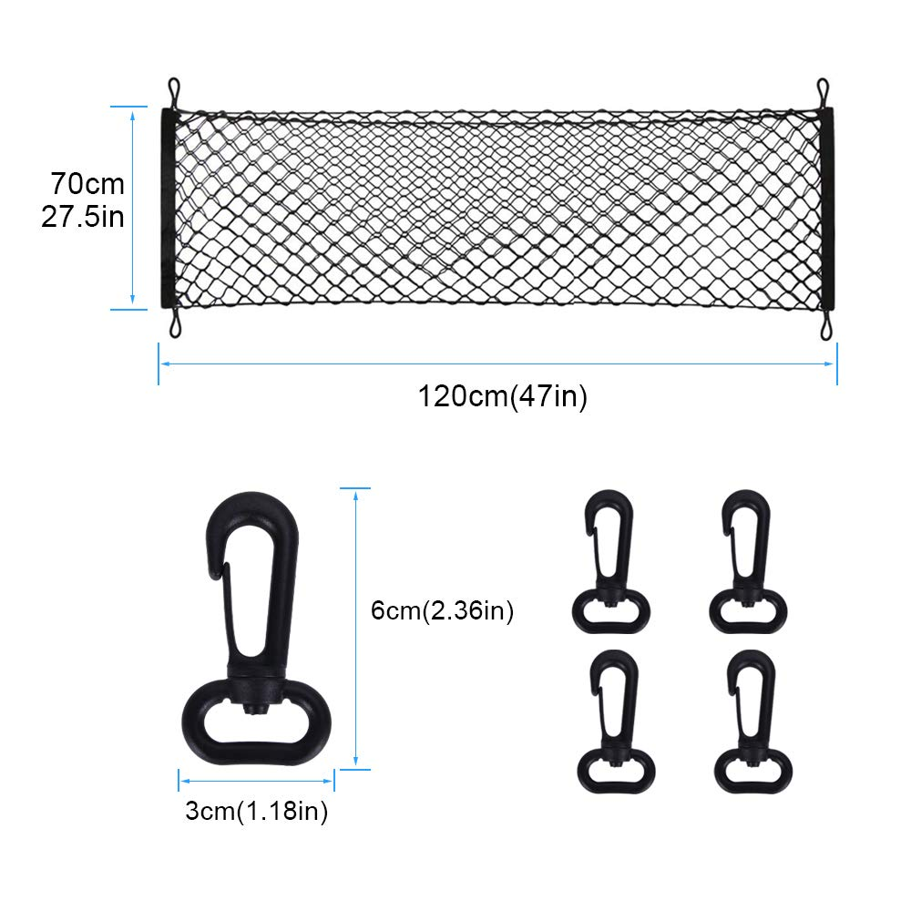 70x120CM Elastic Nylon Mesh Univeral Rear Heavy Duty Car Organizer Net with 4 Hooks for SUV Pickup Truck Bed Rooftop Travel Luggage Rack Cargo Net