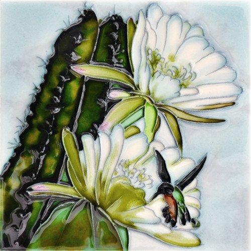Cactus Hummingbird Dance - Decorative Ceramic Art Tile - 6''x6'' En Vogue by En Vogue - Art on Tiles