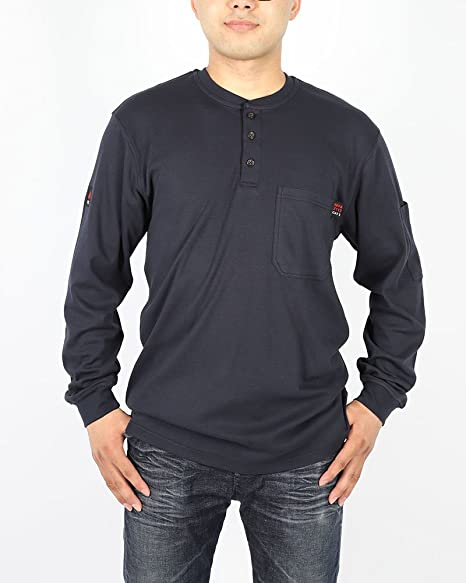 c9efd5e9 Amazon.com: Cotton Flame Resistant Knit Safety Henley Work T-Shirt: Home  Improvement