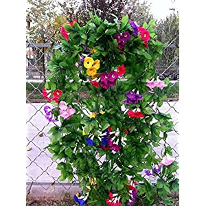 "XHSP 2 Bunches Artificial Vines 35.4"" Morning Glory Hanging Plants Silk Garland Fake Green Plant Home Garden Wall Fence Stairway Outdoor Wedding Hanging Baskets Decor 5"