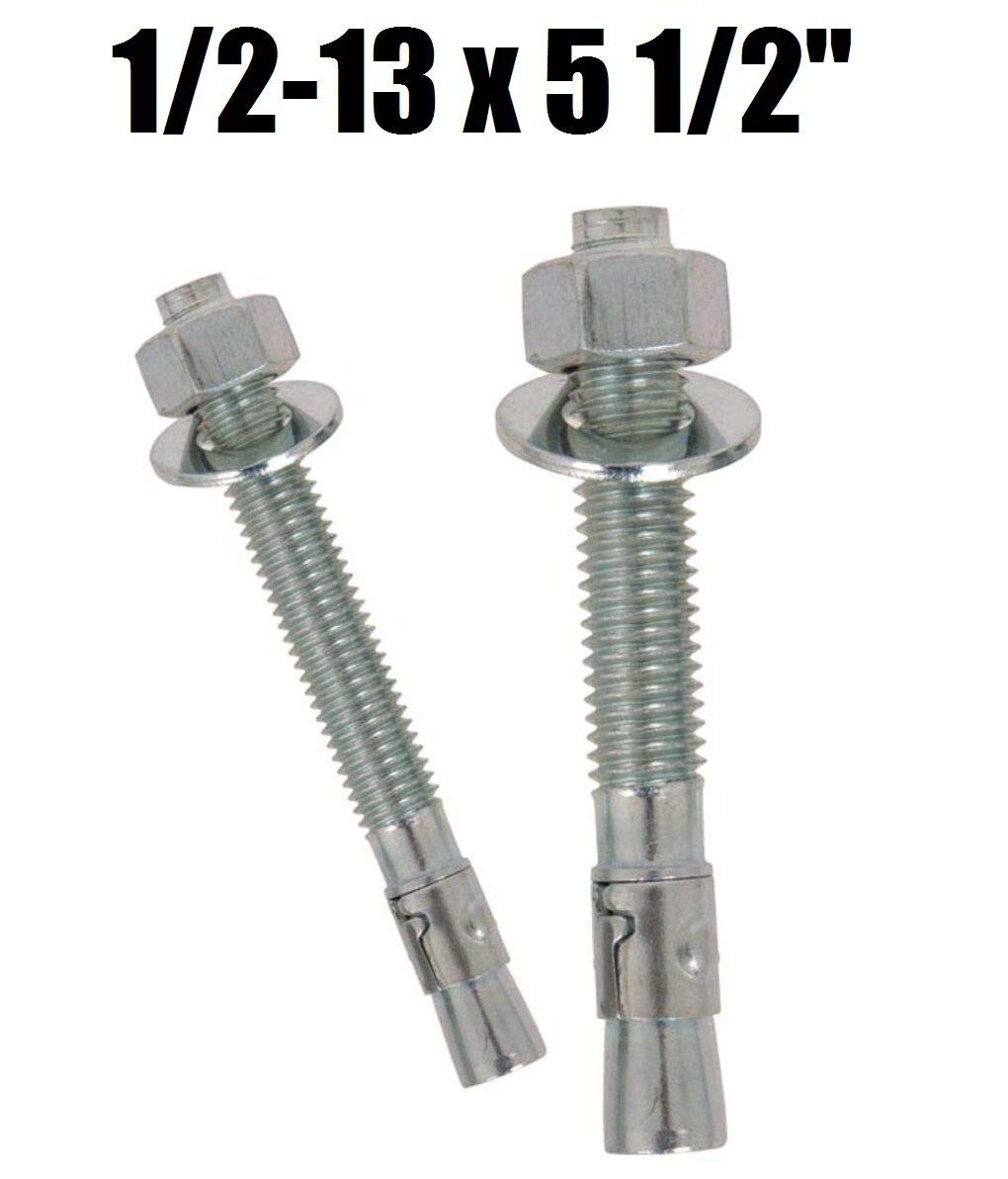 Concrete Wedge Anchor Zinc Plated 1//2-13 x 5-1//2 Qty 100