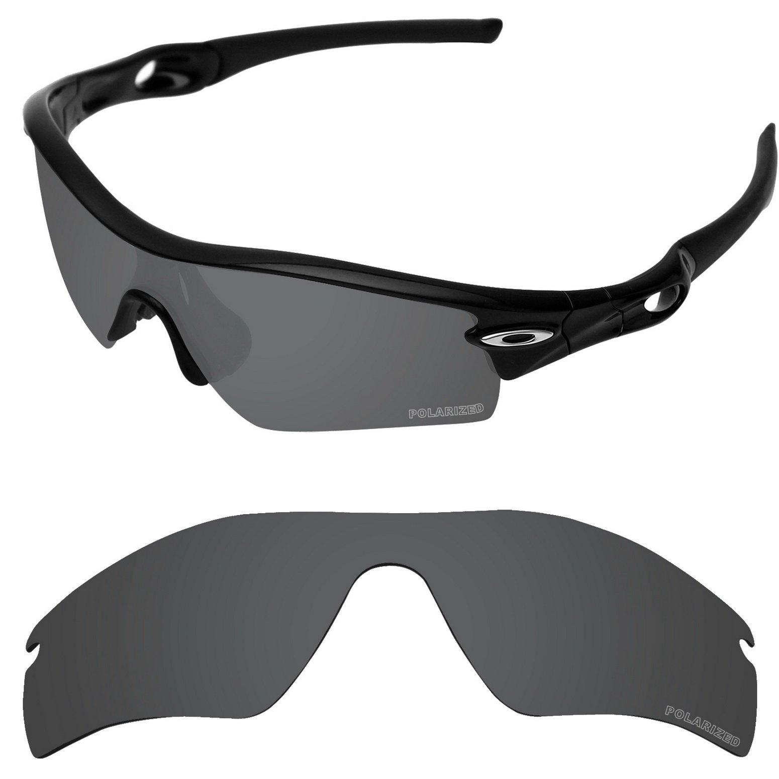 Tintart Performance Replacement Lenses for Oakley Radar Path Sunglass Polarized Etched-Carbon Black