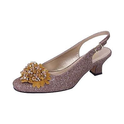 afa0d653aa2 Floral FIC Natalie Women Extra Wide Width Metallic Flower Bow Slingback  Bronze 5