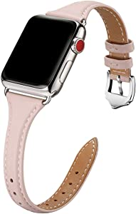 WFEAGL Leather Bands Compatible with Apple Watch 38mm 40mm 42mm 44mm, Top Grain Leather Band Slim & Thin Wristband for iWatch SE & Series 6/5/4/3/2/1 (Pink Sand Band+Silver Adapter,38mm 40mm)