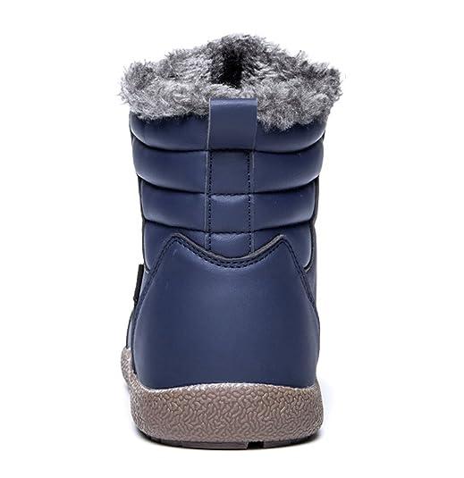 Herren Damen Schneestiefel Faux Leder Wasserdicht Schnüren Knöchelhoch Winter Stiefel Schuhe Warm Gefütterte Boots Santimon Braun 46 oyz7K
