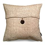 Decorative Pillow Cover - Phantoscope Linen Decorative Throw Pillow Case Cushion Cover Button Beige 18