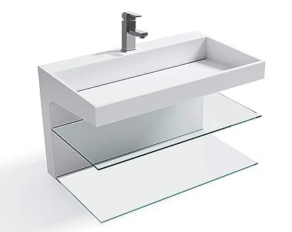 Clickbasin Large Wall Bathroom Basin Shelf Unit Stone Resin Solid Surface 800mm X 480mm Echo Lusso Stone