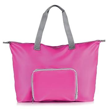 edbc0d7fc6c3 Folding Lightweight TOTE TRAVEL BAG - Foldable Handbag Reusable Shopping  16LTR (Pink)  Amazon.co.uk  Luggage