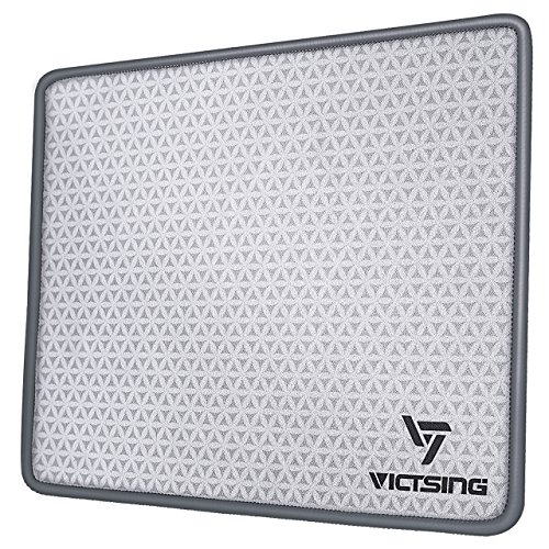 VicTsing Mouse Pad with Stitched Edges, Premium-Textured Mouse Mat Pad, Non-Slip Rubber Base Mousepad for Laptop, Computer & PC, 10.2×8.3×0.08 inches, Grey