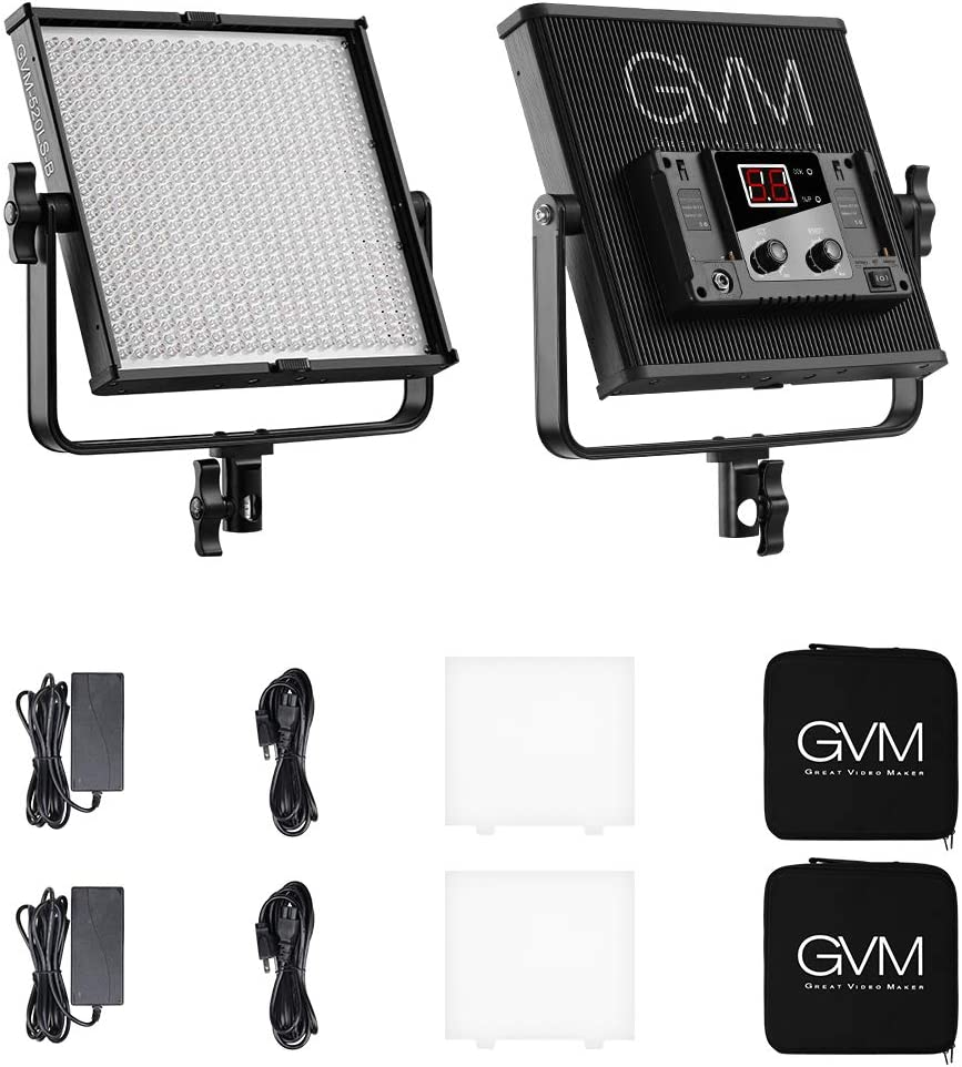 GVM 2 Pack 520LS LED Video Lighting Panel Video Light Featured with CRI 97+ Thick Aluminum Alloy Case Adjustable 360-Degree and U-Shaped Frame 520 Beads Adjustable Bi-Color 3200-5600K LCD Screen