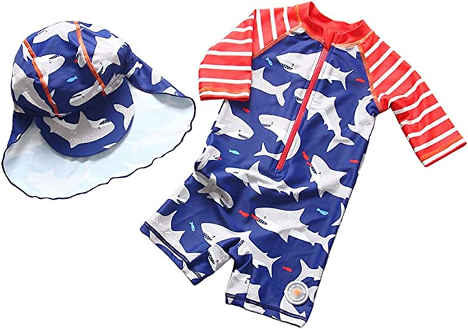 TAIYCYXGAN Baby Boys Kids Long Sleeve UV Sun Protection Rash Guards Swimsuit with Hat