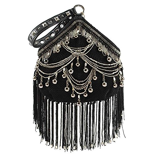 Mary Frances Swag Embellished Leather Wristlet Handbag, black