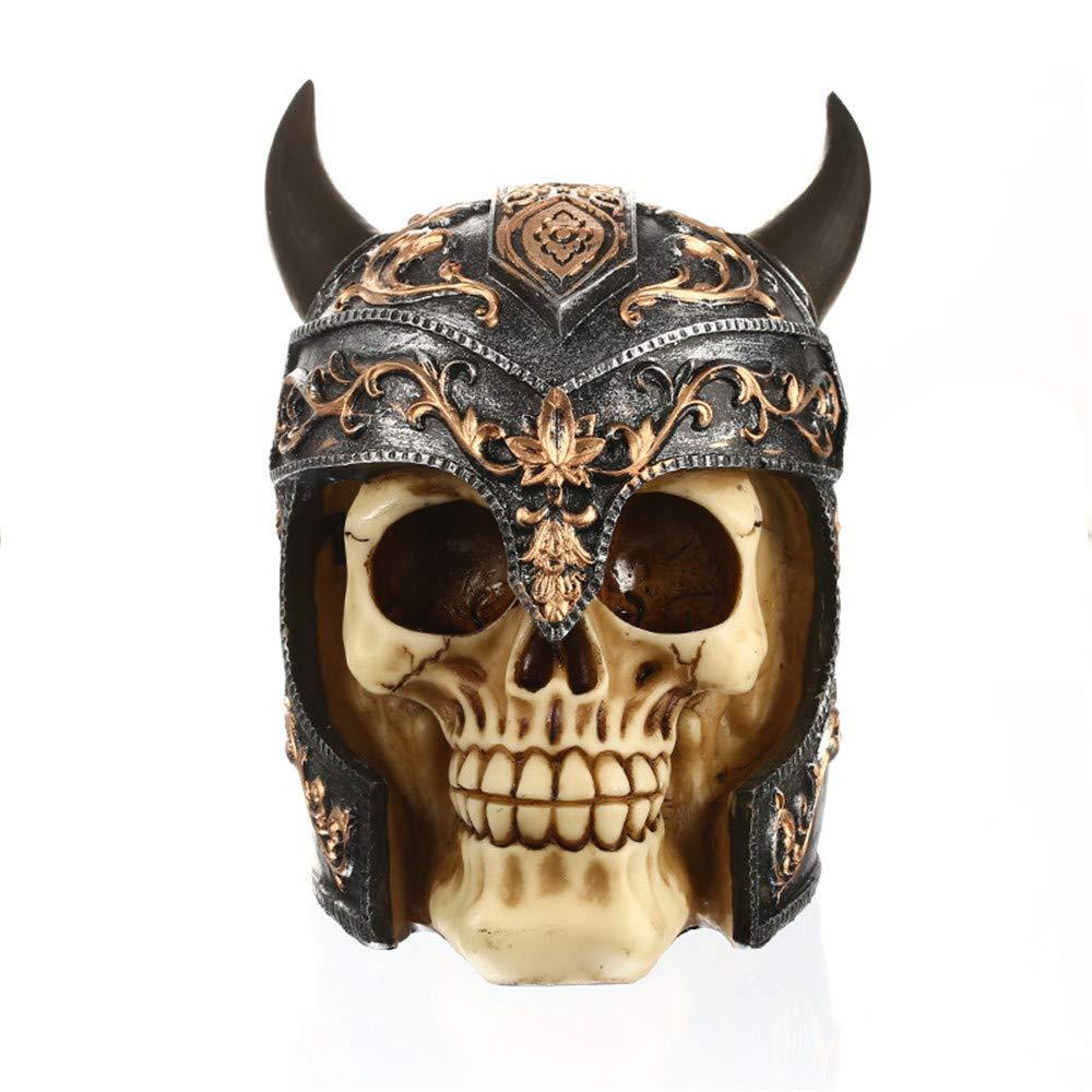 TechCode Skull Statue Figurine, Halloween Gothic Sculpture Gift Decor Simulation Model Fashion Figurine Skull Skeleton Sculptures Skull Creative Resin for Home, Bar, Halloween Scene Layout Decor(A05)