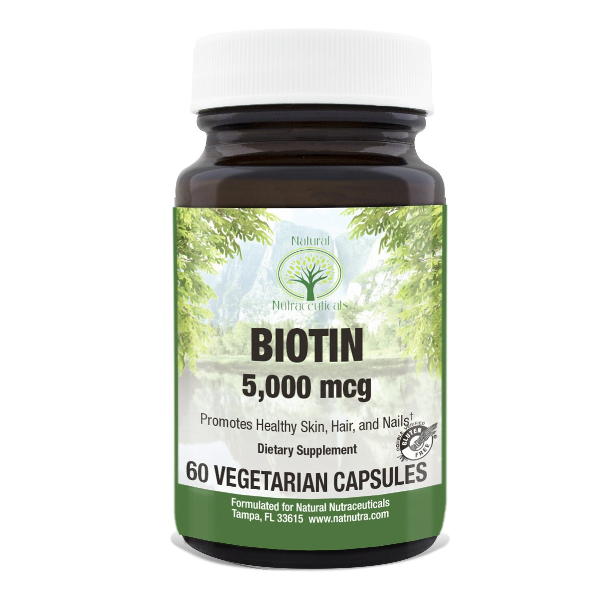 Biotin for Hair Growth by Natural Nutra – Gluten Free, Vegetarian, 5000 mcg, 60 Capsules