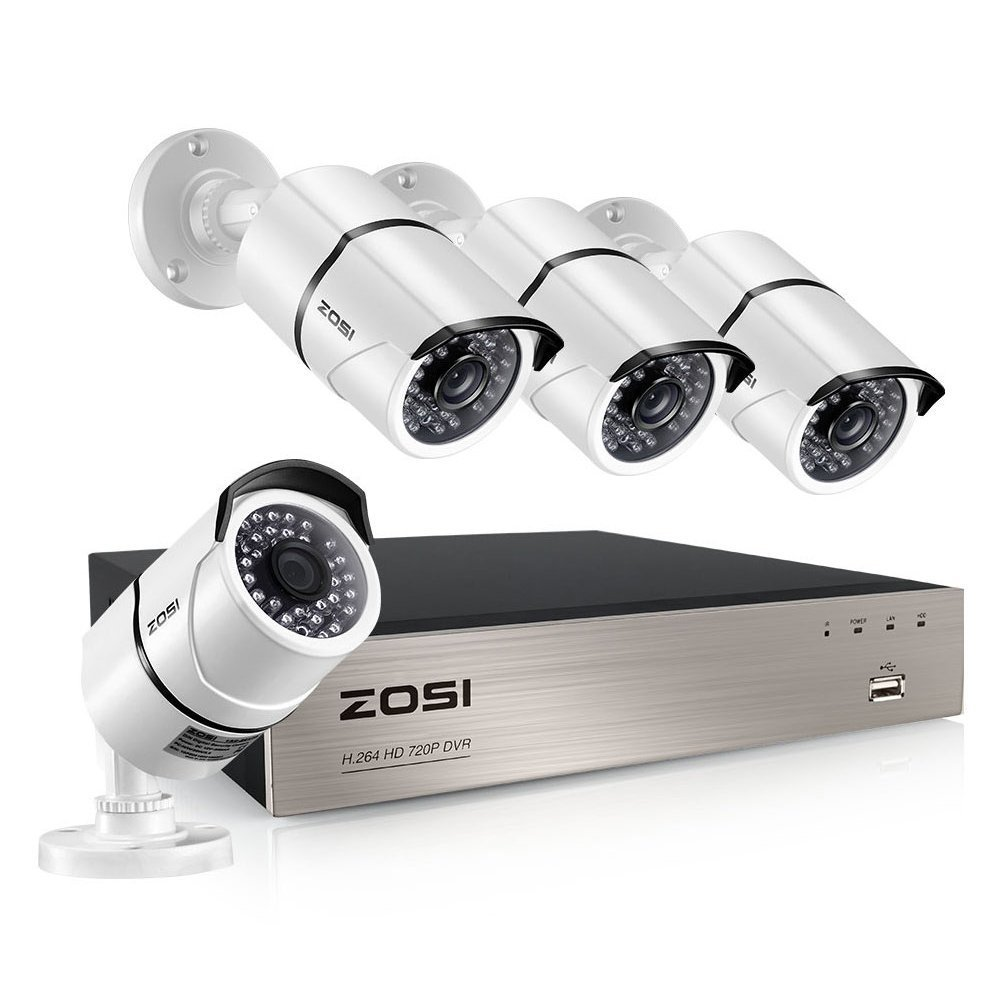 ZOSI 8-Channel HD-TVI FULL 1080P Video Security System DVR and (4) 2.0MP Indoor/Outdoor Weatherproof Cameras with IR Night Vision LEDs- NO HDD, Customizable Motion Detection (Certified Refurbished)