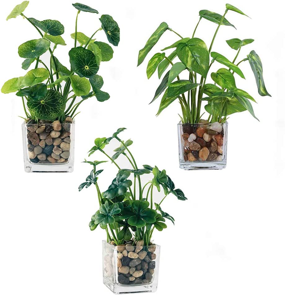 JOPY Small Artificial Plants in Glass Pots Faux Plants Potted Plantas Artificiales Decorativas Greenery for Home Decor Indoor Office Table (Set of 3)