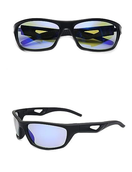 b1abf05320e9 Sport Sunglasses for Men Polarized Cycling Running Windproof Durable Frame  Eyewear(Black Blue)