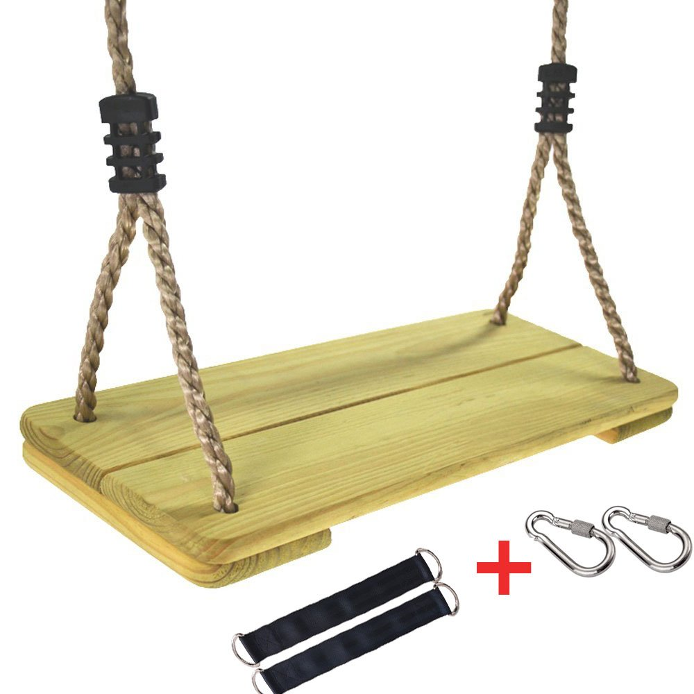 KINGLI Wooden Swing Seat for Kids with Adjustable 82'' PE Rope - 3 Seconds Installing Accessory (Preservative Wood)