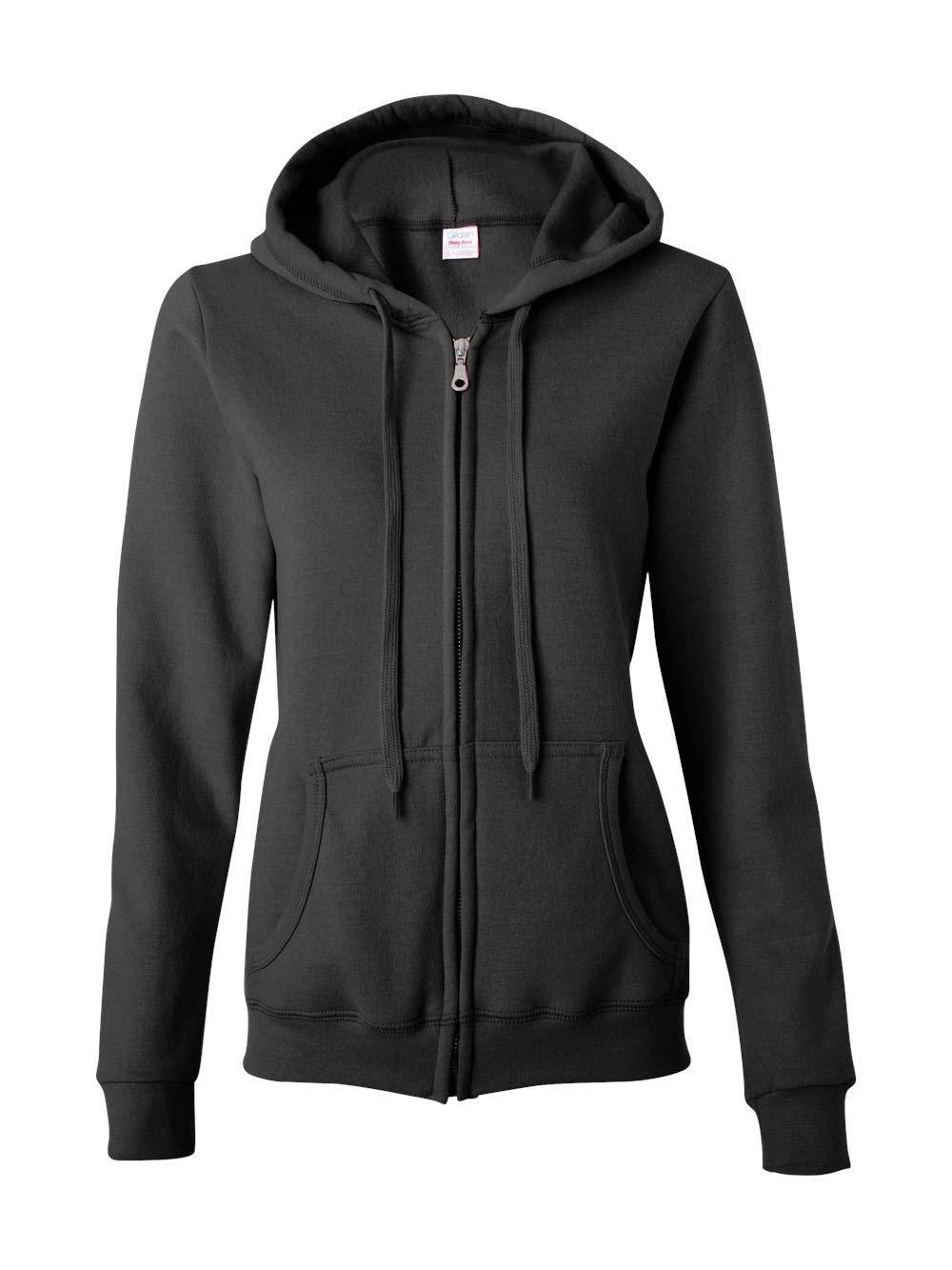 Gildan Women's Heavy Blend Full-Zip Hooded Sweatshirt, Black, Large