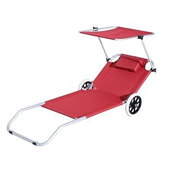 Outsunny – Cama de playa tumbona plegable con ruedas y parasol ajustable, en aluminio y tejido oxford, color rojo: Amazon.es: Jardín