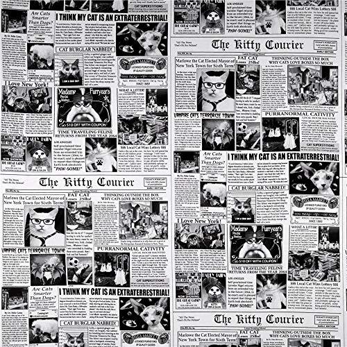 Timeless Treasures Cat News Newsprint Fabric, Black, Fabric By The Yard