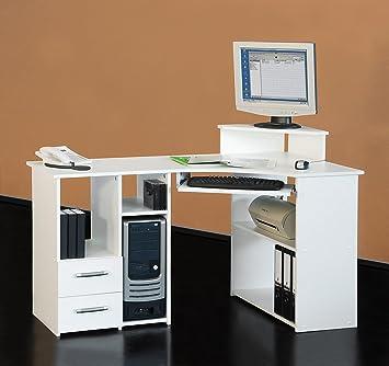 4505 137cm Eck Schreibtisch Computertisch In Weiss Amazon De