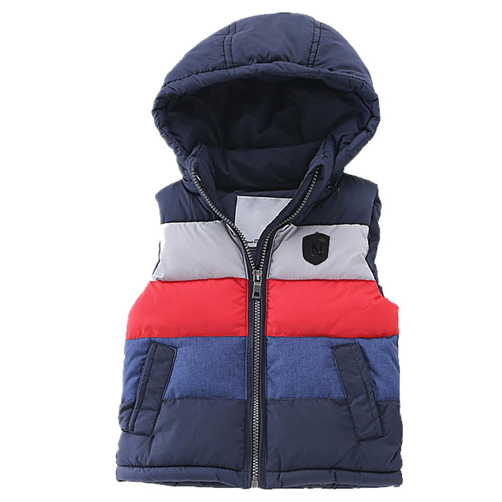 LJYH Big Boy's Winter Hooded Color Block Puffer Vest