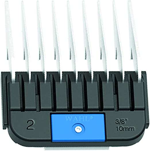 Wahl Professional Animal Stainless Steel Attachment Guide Comb for Wahl Detachable Blade Pet Clippers #2, 3/8 Inch Cut Length (#3373-100),Stainless Steel, Black, and Blue