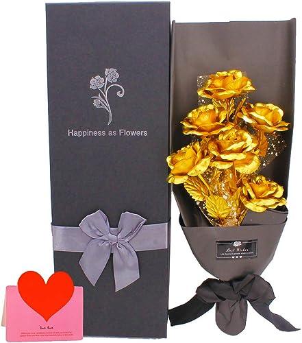24k Gold Rose Artificial Forever Rose Bouquet