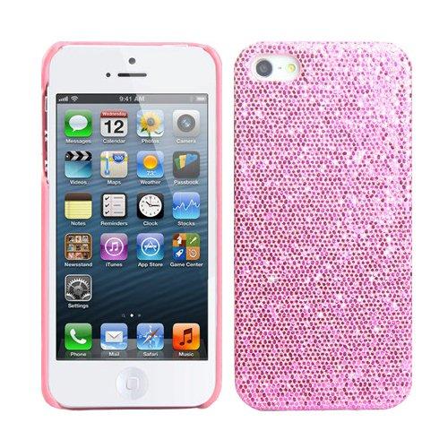 RT-TRADING Apple iPhone 5 5G Glitter Bling Glitzer Strass Hülle Hard Case Cover in Rosa