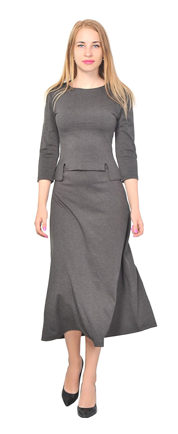 marycrafts Women's A Line Shirt Midi Skirt Suit Set Office Work Day