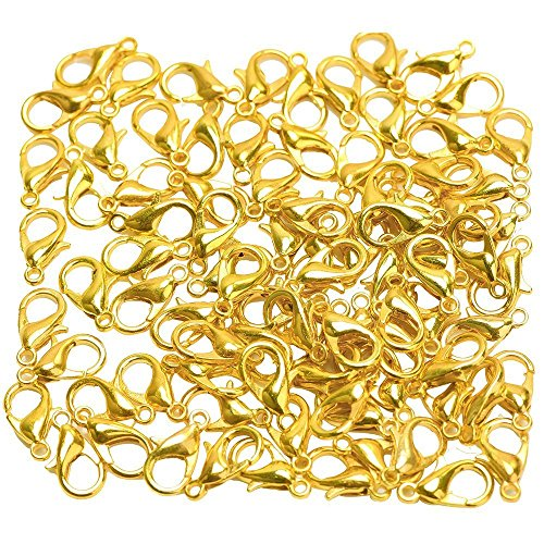 (Honbay Curved Lobster Clasps - 200 Lobster Clasps Gold Plated 100(12x6) 100(10x5) Lobster claw Clasp for DIY Jewelry (Gold))
