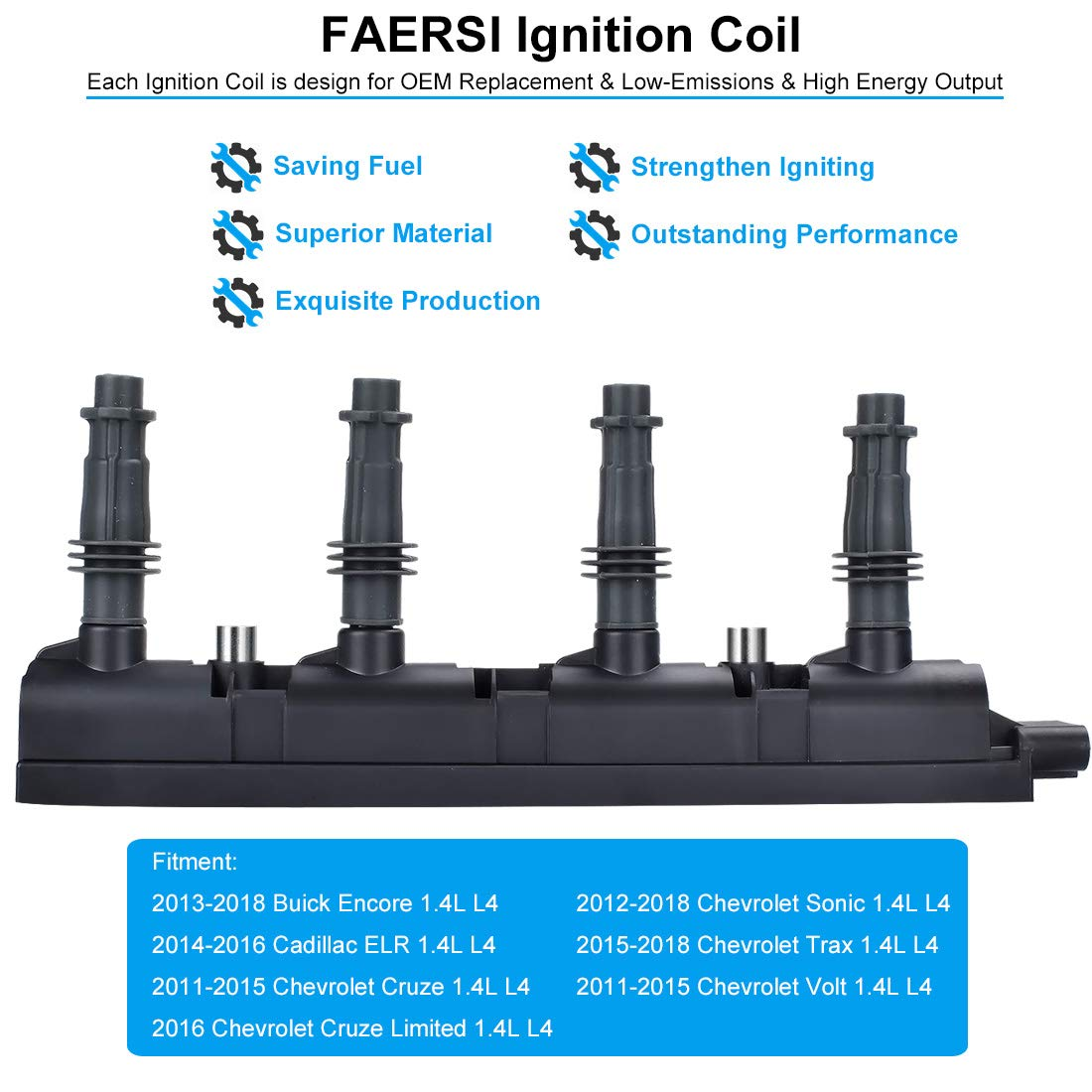 Ignition Coil Pack of 1 Replace OE# D521C, 55579072 for 1 4L - 2013-2018  Buick Encore, 2014-2016 Cadillac ELR, 2011-2015 Chevy Cruze, 2012-2018  Chevy