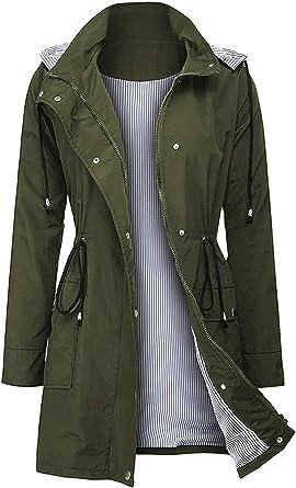 Women/'s waterproof jacket thin hooded women/'s Trench zipper jacket plus