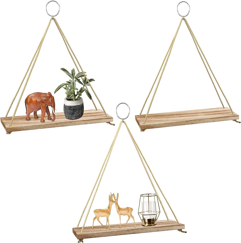 Hanging Shelves 3 Pack , POZEAN Wooden Floating Wall Shelves, Hanging Plant Shelf, Boho Wall Decor Shelves for Bedroom, Plants, Living Room, Office (Included 6 Ropes 3 Rings 3 Hooks and Anchors)