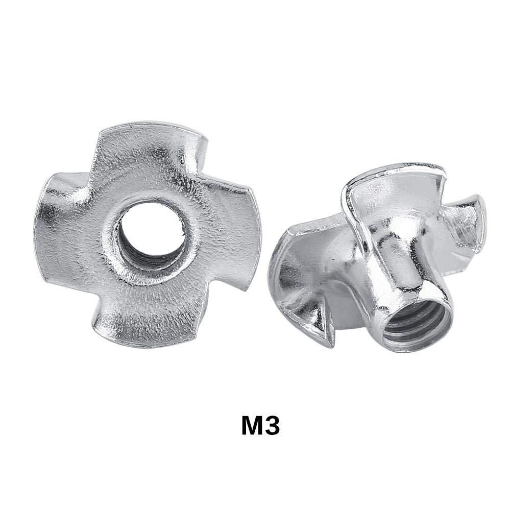 4-Garras Forma de T Acero Galvanizado Tuercas para Muebles de Carpinter/ía 50pcs M5