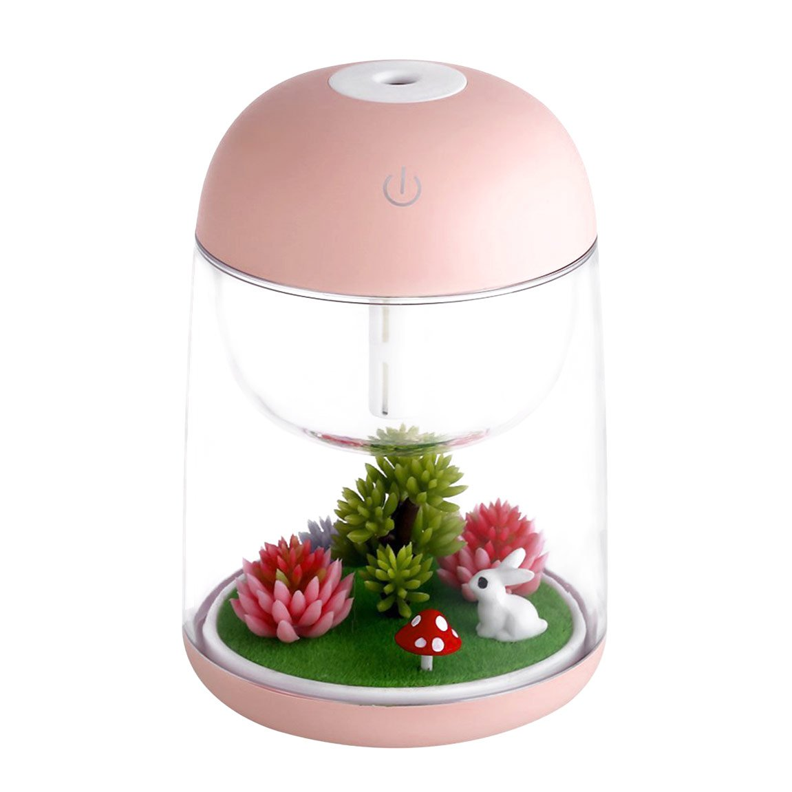 Micro Oil Diffuser Cool Mist Humidifier, House Room Mini Air Humidifiers for Baby Bedroom - Various Night Lights (Pink)